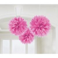 AMSCAN - Pembe Renk Ponpon Çiçek 3 Adet