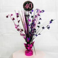 Amscan - Pembe Siyah Renk 40 Yaş Işıltılı Masa Orta Süsü