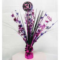 AMSCAN - Pembe Siyah Renk 50 Yaş Işıltılı Masa Orta Süsü