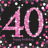 AMSCAN - Pembe Siyah Renk Işıltılı 40 Yaş Peçete 16 Adet 33