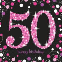 AMSCAN - Pembe Siyah Renk Işıltılı 50 Yaş Peçete 16 Adet 33