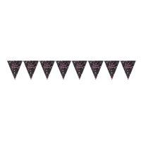 AMSCAN - Pembe Siyah Renk Işıltılı Üçgen Bayrak Afiş
