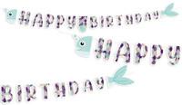 Parti Yıldızı - Pırıltılı Deniz Kızı Happy Birthday Banner