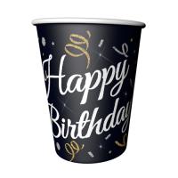 Parti Yıldızı - Pırıltılı Happy Birthday Siyah Bardak
