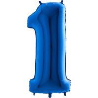 Parti Yıldızı - Rakam Balon 1 Rakamı Mavi - 100 cm