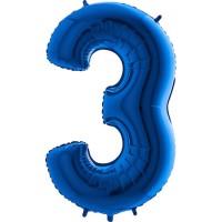 GRABO - Rakam Balon 3 Rakamı Mavi - 100 cm