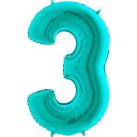 GRABO - Rakam Balon 3 Rakamı Tiffany - 100 cm