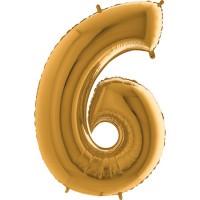 GRABO - Rakam Balon 6 Rakamı Gold - 100 cm