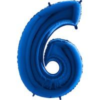 Parti Yıldızı - Rakam Balon 6 Rakamı Mavi - 100 cm