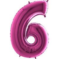 Parti Yıldızı - Rakam Balon 6 Rakamı Pembe - 100 cm