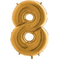 GRABO - Rakam Balon 8 Rakamı Gold - 100 cm