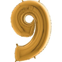 GRABO - Rakam Balon 9 Rakamı Gold - 100 cm