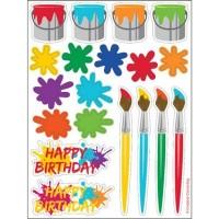 Parti Yıldızı - Renkli Boyama Partisi 4 lü Sticker