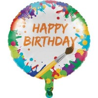 Parti Yıldızı - Renkli Boyama Partisi Happy Birthday 18inç Folyo