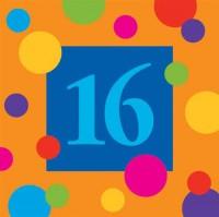 PD - Renkli Doğum Günü Çizgilerii 16 Yaş Peçete