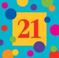 PD - Renkli Doğum Günü Çizgilerii 21 Yaş Peçete