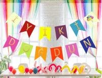 Parti Yıldızı - Renkli İyiki Doğdun Harf Afiş
