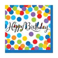 AMSCAN - Renkli Puanlı Happy Birthday Peçete 33x33 cm 36 Adet