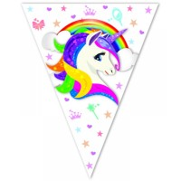 Balonevi - Renkli Unicorn Üçgen Bayrak Banner 3,2M