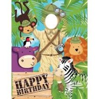 Parti Yıldızı - Safari Macerası Fotoğraf Koyulabilen Kapı Afişi