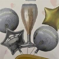 Parti Yıldızı - Şampanya Folyo Balon Seti 5li