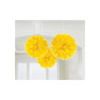 AMSCAN - Sarı Renk Ponpon Çiçek 3 Adet