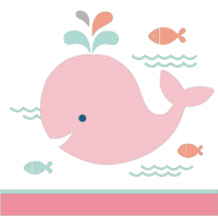 Parti Yıldızı - Sevimli Balina Pembe Küçük Peçete 16 Adet