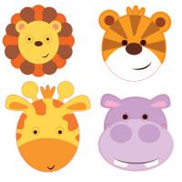 AMSCAN - Sevimli Safari Partisi Maske 8 Adet