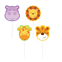 AMSCAN - Sevimli Safari Partisi Mum 4 Adet