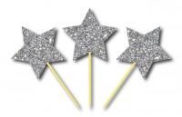 Parti Yıldızı - Simli Gümüş Yıldız Kürdan 3 Adet