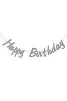 Parti Yıldızı - Simli Happy Birthday İtalik Harf Afiş Gümüş