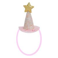 Parti Yıldızı - Simli Yıldızlı Pembe Taç