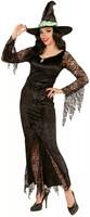 Parti Yıldızı - Siyah Cadı Yetişkin Kostümü Dantelli Lux L Beden