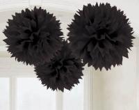 AMSCAN - Siyah Renk Ponpon Çiçek 3 Adet
