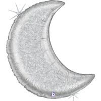 GRABO - Sshape Ay Şeklinde Işıltılı Folyo Balon (Gümüş) 107cm