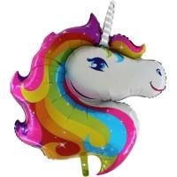 GRABO - SShape Gökkuşağı Unicorn Kafası Paketli Folyo Balon