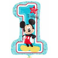 Parti Yıldızı - Sshape Mickey 1st Birthday Balon 48x71cm