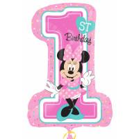Parti Yıldızı - Sshape Minnie 1st Birthday Balon 48x71cm