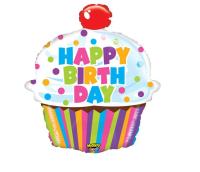 Betallic - SShape Işıltılı Cupcake Happy Birthday Balon 79cm