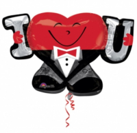 Parti Yıldızı - Sshape Smokinli Kalp I Love You Balon 83x53cm