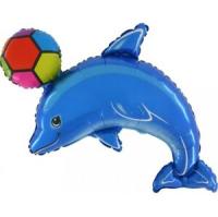 Parti Yıldızı - SShape Toplu Mavi Yunus Folyo Balon
