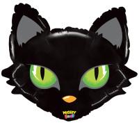 GRABO - SShape Yeşil Gözlü Siyah Kedi Kafası Folyo Balon 71cm
