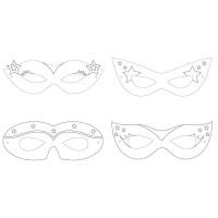 Parti Yıldızı - Superhero Girl Boyanabilir Maske 12 Adet