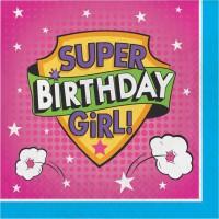 Parti Yıldızı - Superhero Girl Happy Birthday 16 lı Peçete