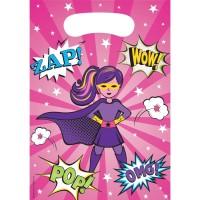 Parti Yıldızı - Superhero Girl Hediye Poşeti 8 Adet