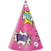 Parti Yıldızı - Superhero Girl Şapka 8 Adet