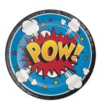 Parti Yıldızı - Superhero Sloganları Küçük Tabak 8 Adet