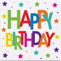 Parti Yıldızı - Superstar Birthday Kağıt Peçete 33x33 Cm (16 Ad)