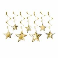 Parti Yıldızı - Tavan Süsü 3D Yıldız Dekor Gold 10 Adet