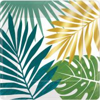 AMSCAN - Tropikal Yapraklar Küçük Tabak 8 Adet